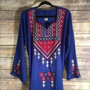 Traditional Egyptian embroidered dress boho style